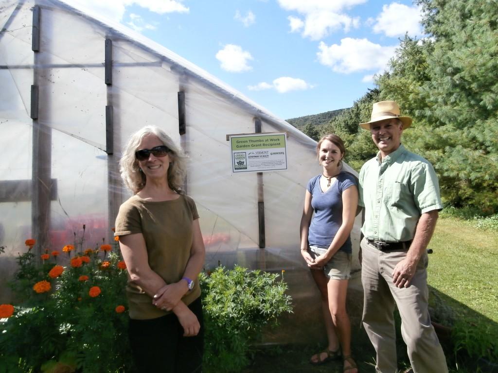 From left: Annie Volmer (development coordinator), Jessie Barber (gardener) and Charlie Nardozzi